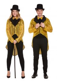 Unisex Adult Gold Sequin Tail Coat