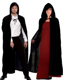 Unisex Black Satin Hooded Cape