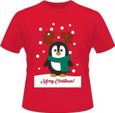 Unisex Christmas Penguin Printed T-Shirt
