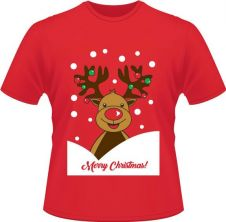 Unisex Christmas Reindeer Printed T-Shirt