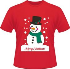 Unisex Christmas Snowman Printed T-Shirt