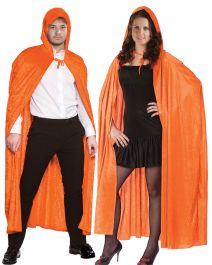 Unisex Orange Satin Hooded Cape