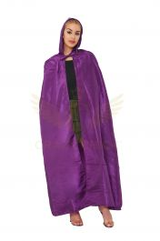 Unisex Purple Satin Hooded Cape