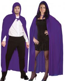Unisex Purple Velvet Hooded Cape