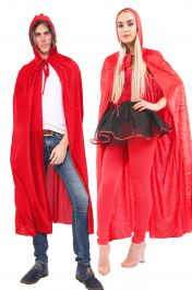 Unisex Red Satin Hooded Cape