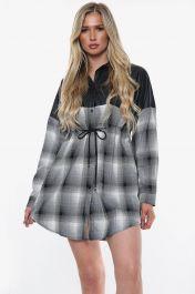 Vegan Leather Button Front Shirt Dress (Black)