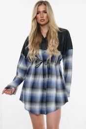 Vegan Leather Button Front Shirt Dress (Blue)