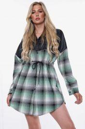 Vegan Leather Button Front Shirt Dress (Green)