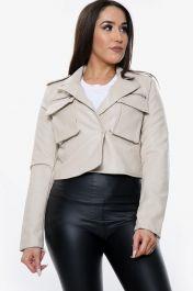 Vegan Leather Cropped Jacket (Beige)