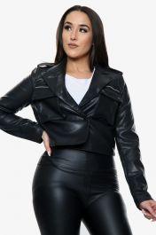 Vegan Leather Cropped Jacket (Black)