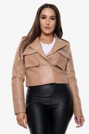 Vegan Leather Cropped Jacket (Tan)