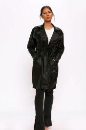 Vegan Leather Duster Coat Black