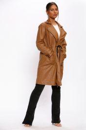 Vegan Leather Duster Coat Brown