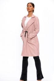 Vegan Leather Duster Coat Pink