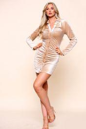 Velvet Ruched Shirt Dress Beige
