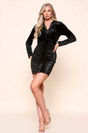Velvet Ruched Shirt Dress Black
