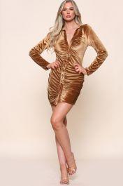Velvet Ruched Shirt Dress Brown