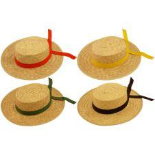 Venetian Gondolier Straw Hat 4 Astd Ribbons