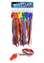 Rainbow Whistle Plastic 5.5cm Cord 6 Astd Colour (Pack of 12)