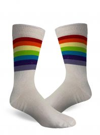 Men Referee White and Rainbow Ankle High Socks(12 Pairs)