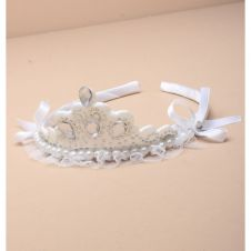 White Fabric Tiara Band with Clear Stones