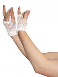 White Fingerless Short Fishnet Gloves
