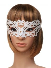 White Frosted Glitter Filigree Masquerade Mask