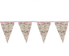 White Golden Flower Bunting Flags w/ Pink Lace