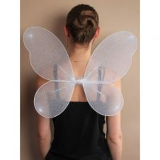 White Net Fairy Wings with Silver Glitter