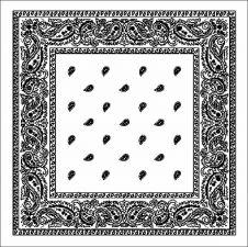 White Paisley Bandana (1 Dozen)