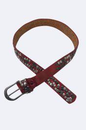 Wine Metal Studded Belt