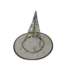 Black Witch Hat with Gold Halloween Prints