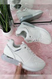 Women 8 Logo Panelled Glitter Sole Trainers White