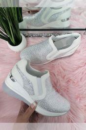 Women Allover Diamantes Design Trainer White