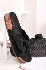 Women Bow Tie Flat Slider Black
