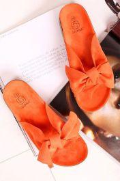 Women Bow Tie Flat Slider Orange