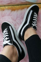 Women Casual Flat Sole Canvas Trainers Black