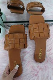 Women Checker Slide Sandals Camel