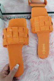 Women Checker Slide Sandals Orange