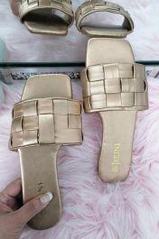 Women Checker Slide Sandals Rose Gold