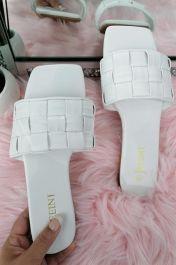 Women Checker Slide Sandals White