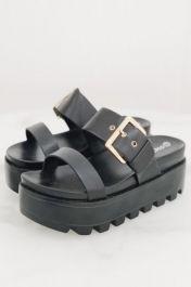 Women Chunky Platform Buckle Strappy Sandal Black