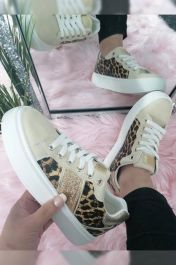 Women Chunky Quilted Leopard Panel Trainer