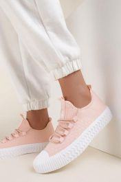 Women Contrast Platform Plimsolls Pink