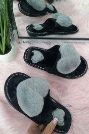 Women Cute Furry Heart Slippers Grey
