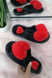 Women Cute Furry Heart Slippers Red