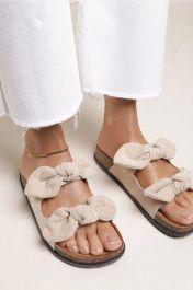 Women Double Bow Tie Flat Slippers Beige