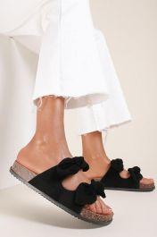 Women Double Bow Tie Flat Slippers Black