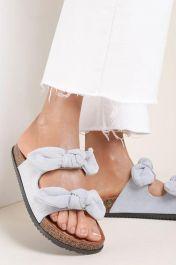 Women Double Bow Tie Flat Slippers Blue