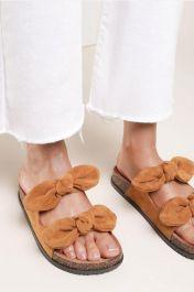Women Double Bow Tie Flat Slippers Camel